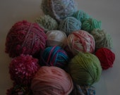 Grab Bag Destash Partial Yarn Balls in Pink and Green