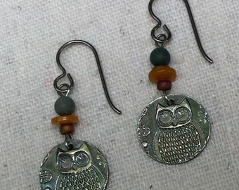 Fine Silver Owl Earrings