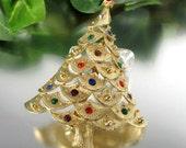 Vintage JJ CHRISTMAS TREE Rhinestone Pin Jonette Jewelry Holiday Brooch