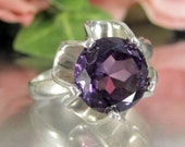 Vintage MEXICAN STERLING AMETHYST Ring Silver Mid Century Modern Design Sz 9