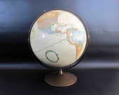 Vintage Replogle World Nation Globe with Textured Relief. Circa 1970's.