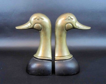 Vintage Brass Goose Head Bookends. Circa 1960's.