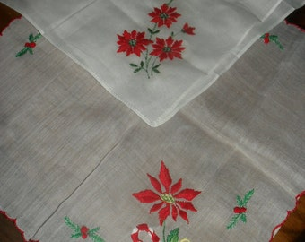 Vintage Two Christmas  Hankie / Hankies - Handkerchief - Poinsettias, Switzerland ,  Hollys, Berries, Candy cane