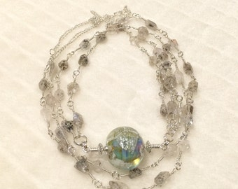ValVaaniaLampwork Sterling Silver and Herkimer Diamond Quarts Gems Wire Wrapped Long Necklace with lampwork Bead