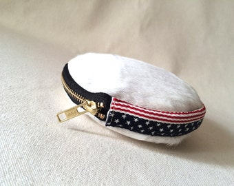 SALE Leather Coin Wallet, American flag Coin Purse, Fourth of July clutch, Leather Clam Purse, hair on hide Coin Wallet