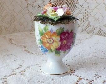 Vintage Jewelry Embellished Vintage Egg Cup Ring Holder, Presentation Box / Holder, Engagement Ring Box / Holder, Recycled, Upcycled, Japan