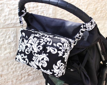 Stroller Bag - stroller organizer - Small Diaper Bag - Small Nappy Bag - Pram Bag - Buggy Bag - Gender Neutral - black white MADE to ORDER