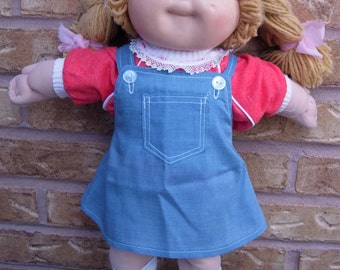 "16"" Cabbage Patch Doll Clothes, Skirts, Bib Overall Pants, Jeans, Red Shirt, 1980's"