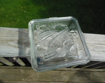 Vintage Square Glass Refrigerator Storage Dish Embossed With Vegetables