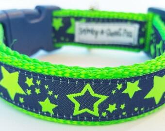 Stars - Dog Collar / Pet Accessories / Adjustable / Handmade / Neon Green / Navy