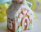 Scented Sugar Cookie House Charm Ornament Miniature food jewelry Christmas Gingerbread house FREE SHIPPING