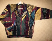 COOGI Cashmere Australia Sweater size Mens L to XL Cashmere, Classic Long Sleeve V Neck Colorful 3D Patterned Hipster Textured WILD Multi