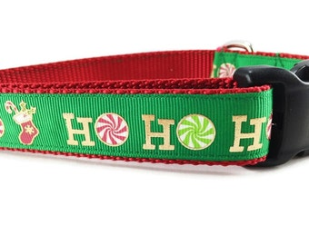 Christmas Dog Collar, Green Ho Ho Ho, 1 inch wide, adjustable, quick release, metal buckle, chain, martingale, hybrid, nylon