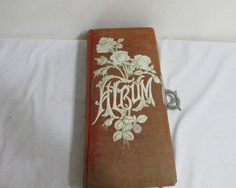 Antique Photo Album Velvet and Celluloid with No Pictures