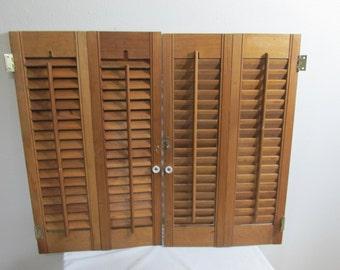 Shutters Wood Louvered Shutters Set Fits 1 Window 23 x 27