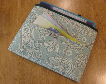Aqua Paisley Tract and Magazine Holder, Organizer, Tablet Sleeve