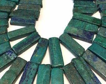 Azurite top drilled stick slabs pendants
