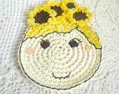 Crochet Coaster - Sunflower Coaster - Crochet Sunflower Doll - Drink Coaster - Nursery Decor - Gift for Girl - Gift under 20 - Gift for her