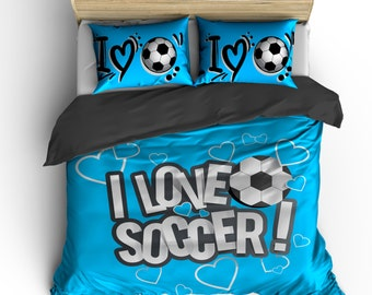 I Love Soccer Bedding, Bright Blue or any color,  Personalized with your Name -Toddler, Twin, F-Queen or King Size