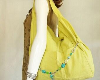 Chartreuse Linen Handbag, large hobo handbag, green sling bag with pockets and free necklace