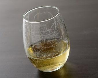 Orlando Street Map Stemless Wine