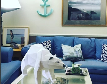 Polar Bear papercraft. You get a PDF digital file templates and instructions for this DIY (do it yourself) modern paper sculpture.