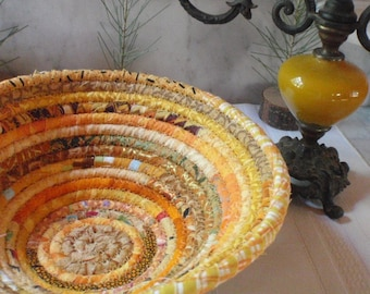 Golden Gypsy - Coiled Bohemian Basket, Catchall, Organizer for Your Desk or Dresser, Handmade by Me