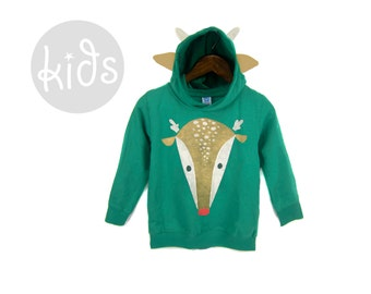 Geo Rudolph Hoodie - Pullover Fleece Hooded Long Sleeve Sweatshirt with Ears Horn and Tail in Forest Green and Tan - Baby & Toddler