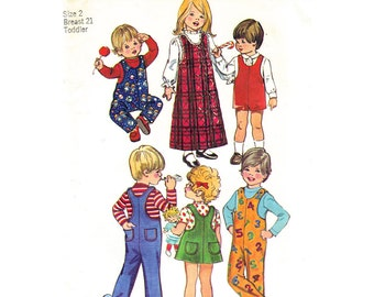 Toddler Sewing Pattern Simplicity 5382 Mini or Maxi Jumper Dress or Jumpsuit Overalls Romper Sunsuit Boys & Girls Toddler Size 1 or 2