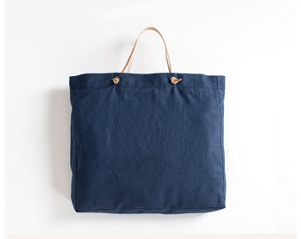 Everyday Tote Bag - Navy blue linen tote bag with genuine leather straps - yoga, beach, market, travel - Free Shipping to USA.
