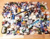 Lot of 300+ Dichroic Fused Glass Beads Cabs Cabochons