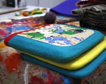 PBC4 Unique wool hand felted book case with screen printed canvas pocket by XOproject