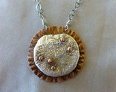Reticulated Sterling Silver and Hammered Copper Necklace