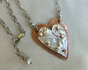 Reticulated Sterling Silver and Hammered Copper Heart Necklace