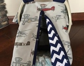 Baby Car Seat Cover - Vintage Airplane with Navy Chevron - All Cotton - Baby Boy - Canopy Cover - Shower Gift