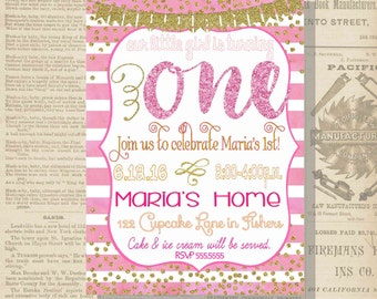 Digital White Pink and Gold Glittery Birthday Girl First Invitation Personalized Printable Any Age
