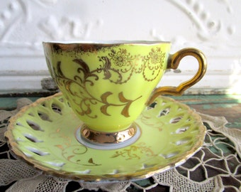 Vintage Teacup Tea Cup and Saucer  gold gilt Yellow and Gold Luster
