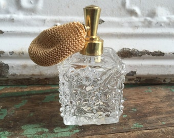 Vintage Irice Clear Cut crystal Glass Perfume Bottle With Flowers