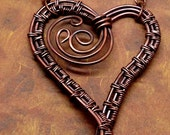 Wire Wrapped Copper Heart Necklace Wire Woven Oxidized Metal pink beads