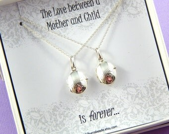 Mother And daughter Locket Set, Tiny Engraved Lockets, Mother and Daughter Necklace, Sterling Silver