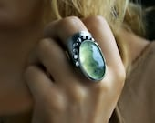 RESERVED - Origin of Life - Prehnite Sterling Silver Ring