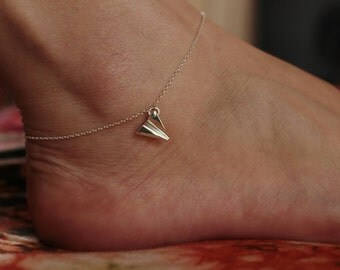ORIGAMI - sterling airplane ankle - ankle bracelet - paper airplane