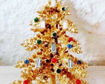 Christmas Brooch, Large Christmas Tree Brooch, Christmas Jewelry, Vintage Rhinestone Christmas Brooch/MARKED ~ART