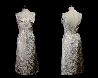 Original Vintage 1960s Metallic Gold Brocade Dress - small - FREE SHIPPING WORLDWIDE
