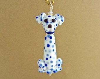 Blue Dalmatian Ornament - Pendant - Handmade Lampwork Creation SRA