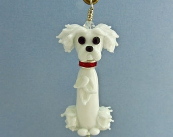 Maltese with Puppy Cut 2 - Lampwork Glass Creation SRA