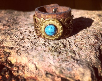 Vintage Etched Brass Button & Leather Ring