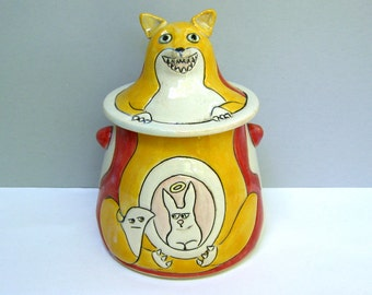 "Ceramic Fox Jar, Red and Orange Lidded Jar with Fox and Rabbit, Small Covered Jar with Bunny and Fox, Animal Pottery, ""Get In Me Belly"""