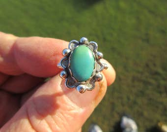 Western Sterling Silver Turquoise Ring - Size 5