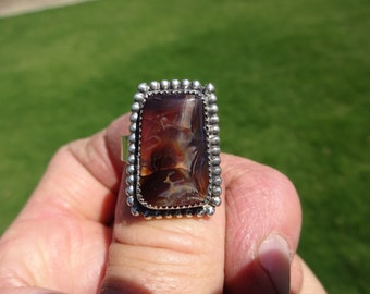 Sterling Silver Fire Agate Ring - Size 10 - FREE RESIZING